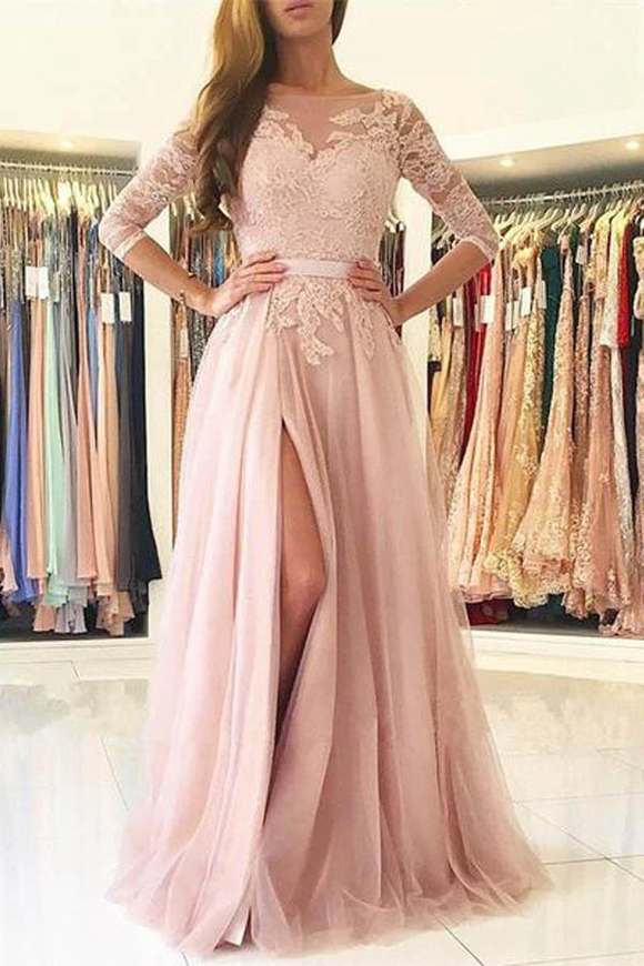 Anneprom Elegant Half-Sleeve Split Lace Long Evening Dress Prom Dresses APP0183