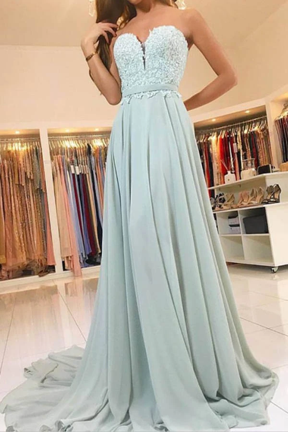 Anneprom Elegant Sweetheart Lace Evening Dress Long Chiffon Prom Dress APP0184