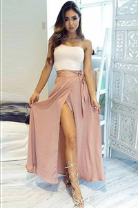 Anneprom Two Piece Strapless Ankle-Length High Split Chiffon Prom Dress APP0187