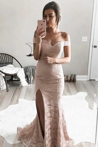 Anneprom Mermaid Off-The-Shoulder Split-Side Sweep Train Pink Lace Prom Dress APP0188