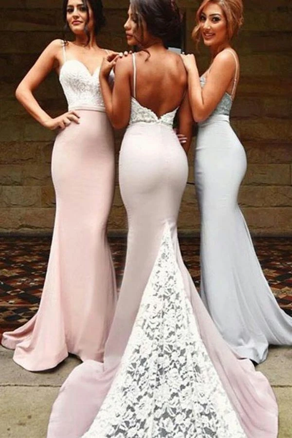 Anneprom Sexy Spaghetti Long Bridesmaid Dresses With White Lace APP0189