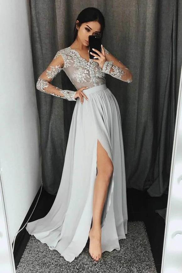 Anneprom V-Neck Long Sleeves Light Grey Chiffon Prom Dress With Appliques APP0190