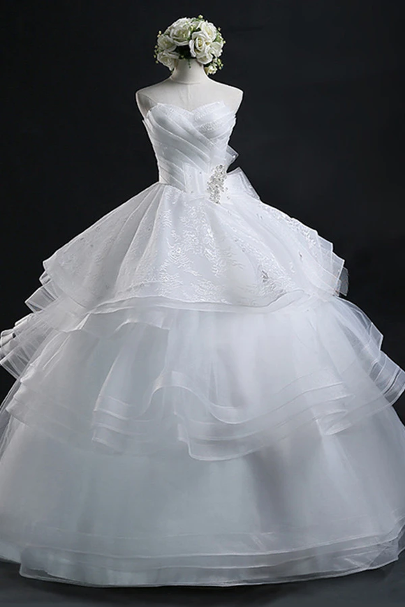 Anneprom Scoop Gown Sweetheart Organza Wedding Dress With Lace APW0021