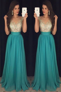 Anneprom Crystal Long Floor-Length Scoop Chiffon Elegant Prom Dress APP0194