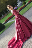 Anneprom Off-The-Shouler Sweep Train Long Sleeves Burgundy Satin Prom Dress APP0195