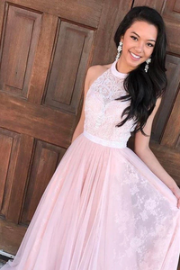Anneprom A-Line Halter Floor-Length Pink Tulle Prom Dresses With Sash Lace APP0204