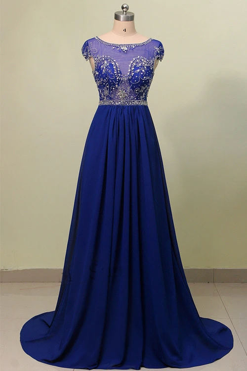 Anneprom Scoop Court Train Chiffon Blue Prom Dress With Beading APP0014
