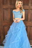 Anneprom Two Piece Off The Shoulder Sky Blue Organza Prom Dress With Appliques APP0206