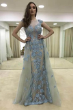 Anneprom Sheath Illusion Round Neck Blue Tulle Prom Dresses With Appliques APP0207