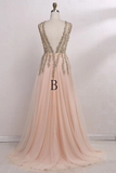 Anneprom Deep V-Neck Sweep Train Sleeveless Tulle Prom Dress With Beading APP0208