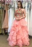 Anneprom Two Piece Round Neck Tiered Pink Open Back Prom Dress With Appliques APP0209