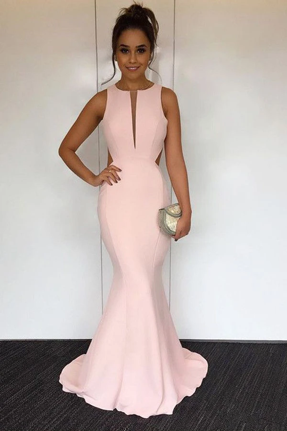 Anneprom Mermaid Round Neck Sweep Train Pearl Pink Open Back Prom Dress APP0211