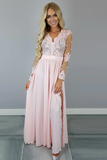 Anneprom V-Neck Long Sleeves Pink Chiffon Slit Prom Dress With Appliques APP0212