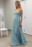 Anneprom Baby Blue Chiffon Evening Dress Floor Length Cheap Prom Dress APP0216