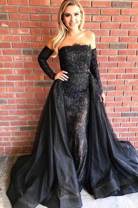 Anneprom Strapless Black Tulle Prom Dress With Lace Appliques Detachable Train APP0221