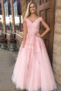 Anneprom A-Line V-Neck Cap Sleeves Pink Tulle Beaded Appliques Prom Dress APP0223