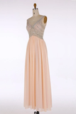 Anneprom V-Neck Chiffon Beading Blush Pink Evening/Prom Dresses APP0033