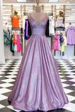 Anneprom A-Line V-Neck Spaghetti Straps Purple Prom/Evening Dress With Pockets APP0012