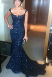 Anneprom Mermaid Off-Shoulder Lace Navy Blue Prom Dress With Sequins APP0035