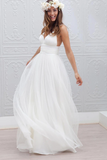Anneprom Simple V-Neck Floor-Length Wedding Dress With Ruched Sash APPW0002