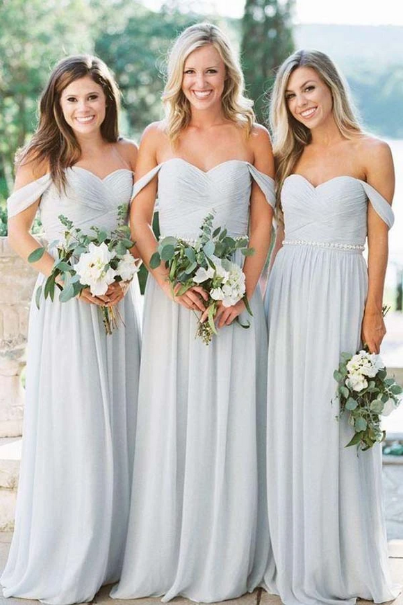 Anneprom A-Lline Chiffon Off The Shoulder Silver Beach Bridesmaid Dresses APB0002