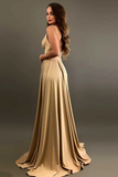 Anneprom A-Line V-Neck Elastic Satin Bridesmaid Dress With Split APB0003