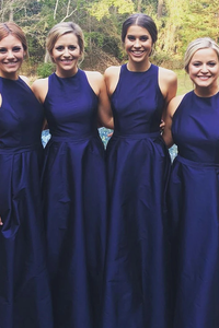 Anneprom A-Line Jewel Floor-Length Navy Blue Sleeveless Satin Bridesmaid Dress APB0004