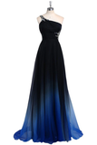 Anneprom One Shoulder Chiffon Prom/Evening Dress With Beads APP0015