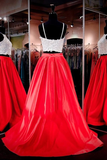 Anneprom Two-Piece Square Neck Red Prom Dresses Evening Dresses APP0046
