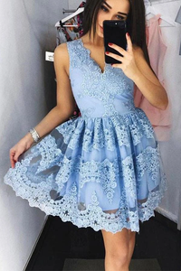 Anneprom Cute Blue Lace Short Prom Dress Blue Lace Homecoming Dress APH0004