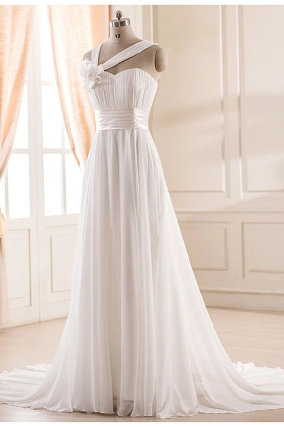 Anneprom Sweetheart Chiffon Wedding Dress With Handmade Flower APB0005