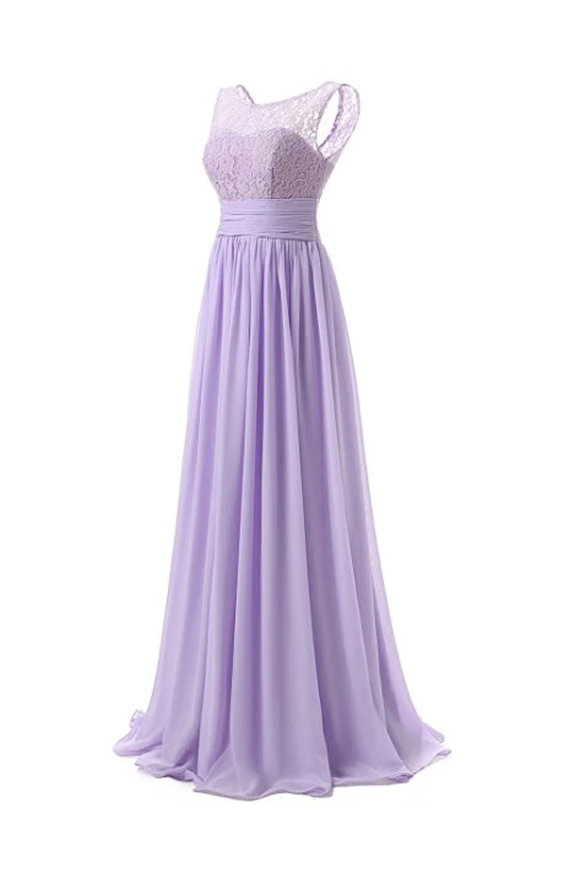 Anneprom Chiffon Long Prom Dress Scoop Bridesmaid Dress Lace APB0006