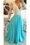 Anneprom A-Line V Ncek Chiffon Long Sleeves Backless Prom Dresses Evening Dresses APP0050