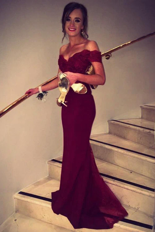 Anneprom Mermaid Off Shoulder Lace Burgundy Long Prom/Evening Dress APP0052