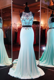 Anneprom Two Piece Mermaid Blue Prom Dresses Evening Dresses With Beading APP0054