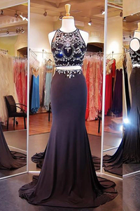 Anneprom Two Piece Mermaid Black Prom Dresses Evening Dresses With Beading APP0055