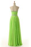 Anneprom Sweetheart Sleeveless Backless Chiffon Green Prom Dress APB0009