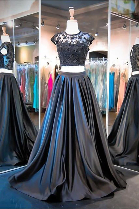 Anneprom Two Piece A-Line Black Cap Sleeve Prom Dresses Evening Dresses APP0056