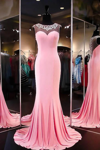 Anneprom High Quality A-Line Mermaid Satin Pink Long Prom Dress Evening Dress APP0060