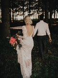 Anneprom Spaghetti Straps Lace Long Sleeve Backless Boho Wedding Gowns Rustic Wedding Dress APW0226