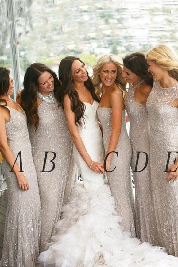 Anneprom Light Gray New Arrival Bridesmaid Dress,Mermaid Bridesmaid Gowns,Sleeveless Wedding Party Dress APB0106