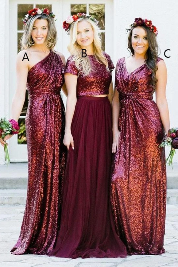Anneprom A-line Burgundy Sequins Bridesmaid Dress Sparkly Bridesmaid Dresses Long Prom Gowns APB0107