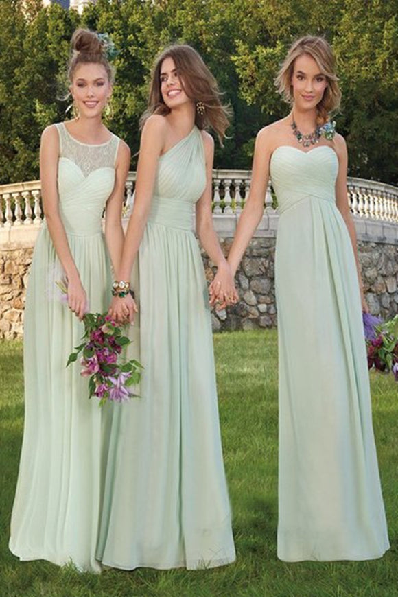 Anneprom Chic A-line Scoop Long Bridesmaid Dress Lace Bridesmaid Dresses Evening Dresses APB0109