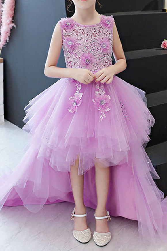 Anneprom Kids Girls Beautifull Sleeveless Fancy Lace Dresses APF0002