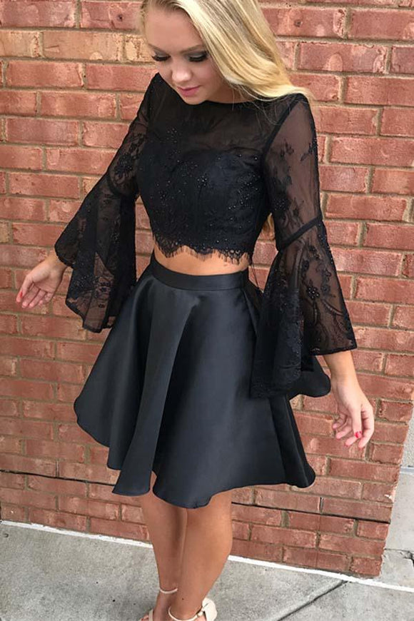 Anneprom Two Piece Black Long Sleeve Lace Homecoming Dress Party Dress  APH0011