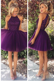 Anneprom Open Back Halter Purple Beaded Homecoming Cocktail Dresses APH0013