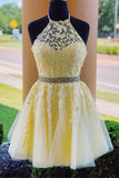 Anneprom Halter Appliqued Yellow Homecoming Dress Short Prom Dress With Beading Belt APH0020