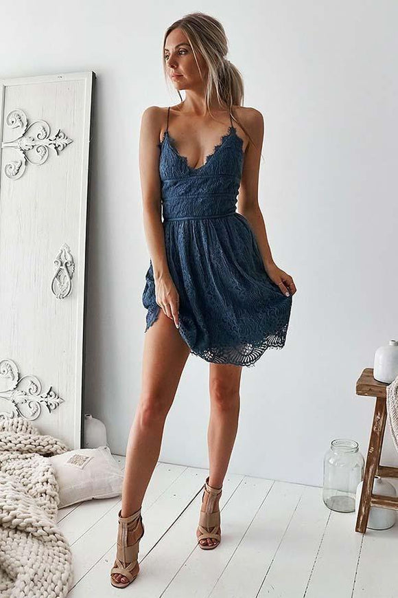 Anneprom A-Line Spaghetti Straps Navy Blue Lace Homecoming Party Dress APH0021