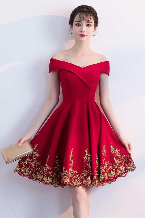 Anneprom A-Line Off The Shoulder Red Homecoming Dresses With Lace Applique APH0024