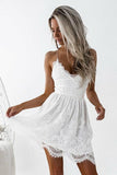 Anneprom A-Line Spaghetti Straps Criss-Cross Straps White Lace Homecoming Dress APH0032